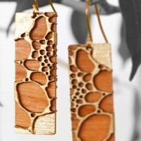 24 karat Gold Leafed Cherry Wood Earrings
