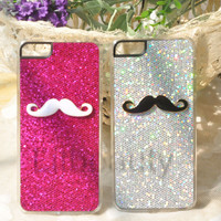 2 Pcs  Rose & Silver Bling Mustache Case Cover For iPhone 5 5TH Couple & Lovers