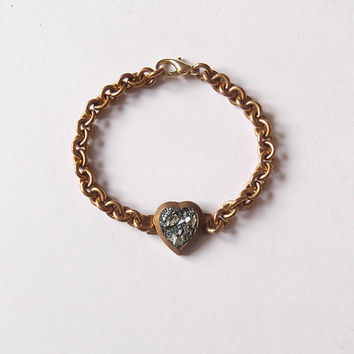 Pyrite Heart Bracelet - Vintage Brass Heart and Chain