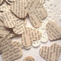 Vintage Pride and Prejudice Wedding Heart Confetti by ddeforest