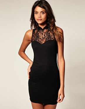 ASOS | ASOS Dress with High Neck Lace at ASOS