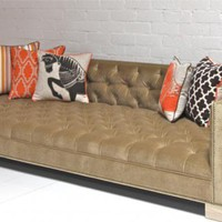 www.roomservicestore.com - Tufted Deep Sofa - Sand Velvet