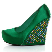 Privileged Gorgeous Green Rhinestone Platform Wedges