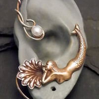 Golden Ocean Pearl Ear Wrap - MERMAID - Brass Ear Cuff Wrap for LEFT EAR