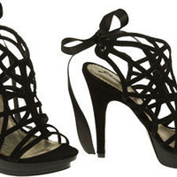 15DOLLARSTORE.COM - GO MAX Suedette Lorena Caged Platform Sandal W/ Ribbon (Black)