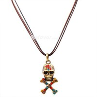 $4.99 Vintage Multicolor Rhinestone SkullCrossbones Pendant Leather String Necklace at Online Cheap Vintage Jewelry Store Gofavor