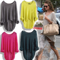 Casual Batwing Round Long Sweaters-FOLLLOWWW MEEE N ENJOY&lt;3