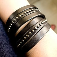 2 Circles Black Leather Wrap With Antique Rivets Adjustable Leather Bracelet