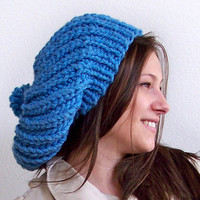 $44.95 Black Friday Slouchy Hat in Blue Chunky by natalya1905