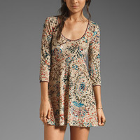 Free People Printed Musa Burnout Velvet Dress in Sand Combo from REVOLVEclothing.com