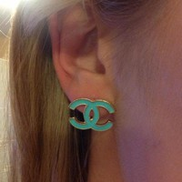 Aqua chanel earrings