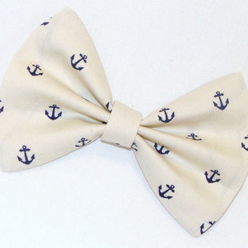Hair Bow Vintage Inspired 1920s Creme with Dark Blue Anchors Clip Rockabilly Pin up Teen Woman Stocking Stuffer