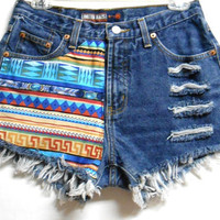 Blue  Denim Shorts Tribal Print  with Studs Size 6