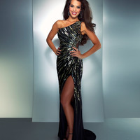 Mac Duggal Prom 2013 - One Shoulder Black Sequined Dress - Unique Vintage - Cocktail, Pinup, Holiday &amp; Prom Dresses.