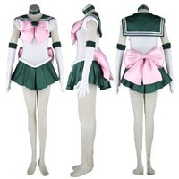 Amazon.com: Dream2Reality Japanese Anime Sailor Moon Cosplay Costume -Sailor Jupiter Kino Makoto 1st Ver Fighting Large: Clothing
