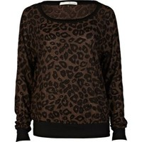 black leopard print top - long sleeve tops - t shirts / vests / sweats - women - River Island