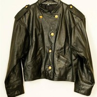 Gold Button Leather Jacket