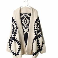autumn and winter the Valley geometric patterned Dolman sleeve Cardigan-EMS