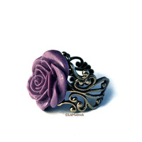 Purple Rose Ring. Adjustable Filigree Ring. Cocktail Ring. Tea Rose