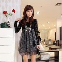 1030 New Arrival Chiffon+Lace Leopard Long Sleeve Bow Dress