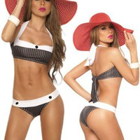 My Associates Store - Sexy Black Pin Striped Two Piece Swimsuit - Halter Top and Brazilian Bottom