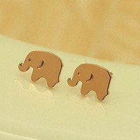 18K Rose Gold Cute Elephant Stud Earring from LOOBACK FASHION STORE