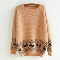 retro wild deer head sweater woman-EMS