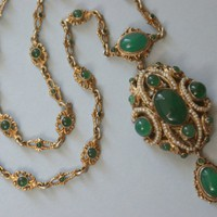 Antique Victorian Austro Hungarian Silver Chrysoprase Seed Pearl Necklace