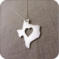 Texas State Necklace in Silver with Heart by DestinysCreations