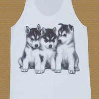Siberian Husky Puppy Tank Top Siberian Husky Shirt Dog Shirt Animal T-Shirt Unisex Shirt Women Tops Tunic Tank Top Women Shirt Size M