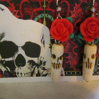 Day of the Dead Skull Rose Earrings