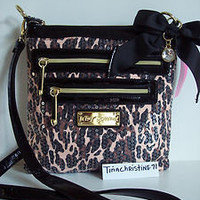 NWT~Betsey Johnson Sequin Cheetah Punk Natural &#x27;Ripple Crossbody&#x27; Messenger~$68