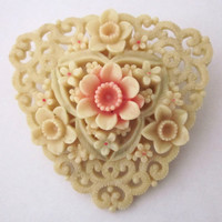 Antique Jewelry Vintage Jewelry Carved Celluloid Heart Shaped Flower Brooch Occupied Japan Antique Jewelry Vintage Jewelry