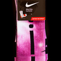 Thesockgame.com  Breast Cancer Pink Galaxies - Custom Nike Elite Socks