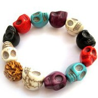 Mixed Color Howlite Turquoise Skull Beads Buddhist Prayer Bracelet Mala: Jewelry: Amazon.com