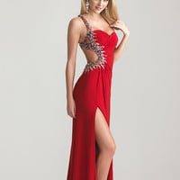 Red Ruched Jersey Beaded One Shoulder Open Back Prom Dress - Unique Vintage - Cocktail, Pinup, Holiday & Prom Dresses.