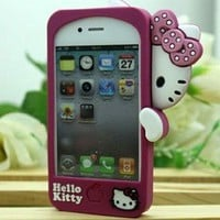 Hide Lovely Bow Hello Kitty Cute Silicone Rose Back Case Cover for Iphone 4 4s