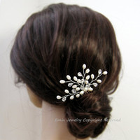 White Pearl Rhinestone Bridal Hair Comb  H002- Wedding Hair Accessory Brides Bridesmaids