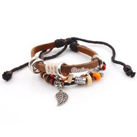 Fashion Adjustable Multicolor Beaded&amp;Leaf&amp;Multilayer Leather String Bracelet at online cheap fashion jewelry store Gofavor