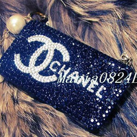 Custom Bling Black Crystals iPhone Cases Glitter by Maria0824E