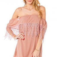 Emilia Lace Trim Dress in Pink - ShopSosie.com