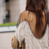 Womens Sexy See through Open Back Mesh Sequins Batwing Pullover Jumper Tops