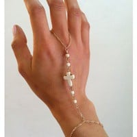 Tiny White Beaded and Cross Hand Chain Bracelet