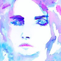 On Sale Print of Original Watecolor Painting, Titled: Lana Del Rey by Jessica Buhman, Singer Female Woman Model Pink Blue Turquoise Black P