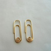 $25.00 Paper Clip Earrings 14K Gold Filled by StreetBauble on Etsy