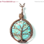 20% OFF End of Year SALE The Round Turquoise Tree of Life Necklace in Antique Copper.