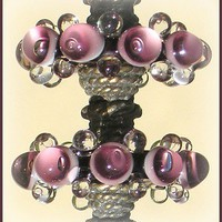 Lampwork Beads, Handmade  Purple Glass Beads, Lampwork Disc Beads Set (6)