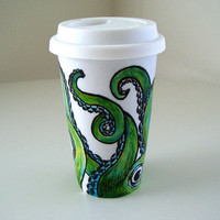 $30.00 Cyber Monday Etsy Octopus Ceramic Travel Mug Painted by sewZinski