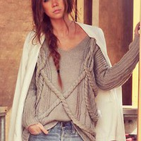 Gray Twist Round Meck Loose Sweater S008885