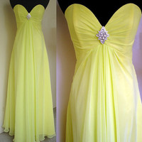 Custom Beach Sweetheart Sleeveless Floor-length Yellow Chiffon Long Bridesmaid/Evening/Party/Homecoming/Prom/Formal Dresses 2013 New Arrival